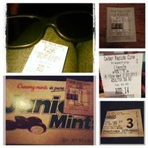 5 of my movie tickets - Life of PI, Django Unchained, Les Miserables, Lincoln, and Argo.