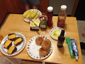 The things we ate. BTW, I also contributed by chopping up some onions.