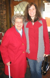 Photo taken in January 2008. I had just received the red coat for Christmas a couple weeks prior and I was thrilled to have a red coat like Gma. I think we look pretty great.)